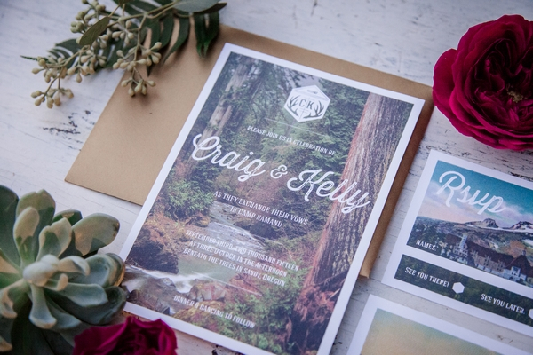 Glamping wedding stationery