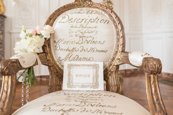 Bride name card on elegant chair