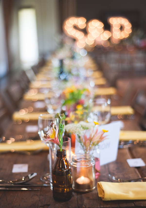 Decorations on long wedding table
