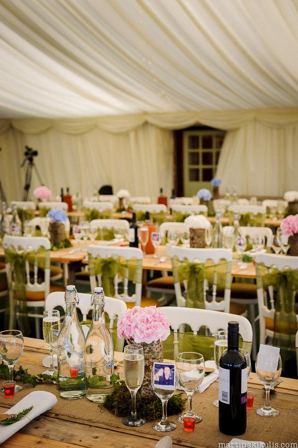 Wedding tables in marquee at Huntstile Organic Farm