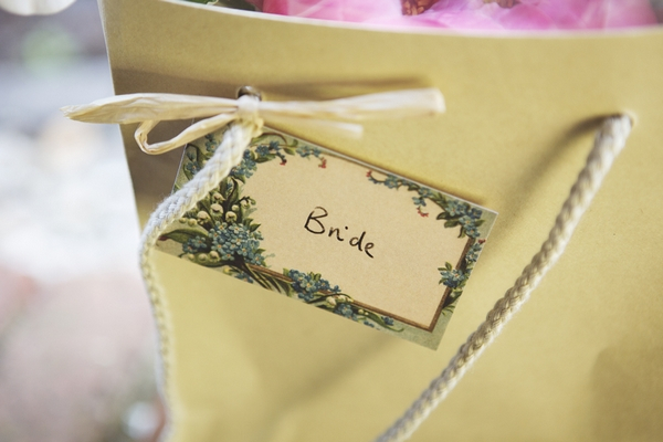 Bride tag on bag