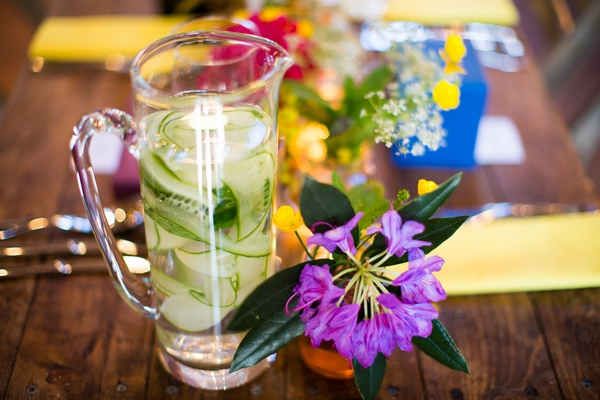 Jug of drink on wedding table