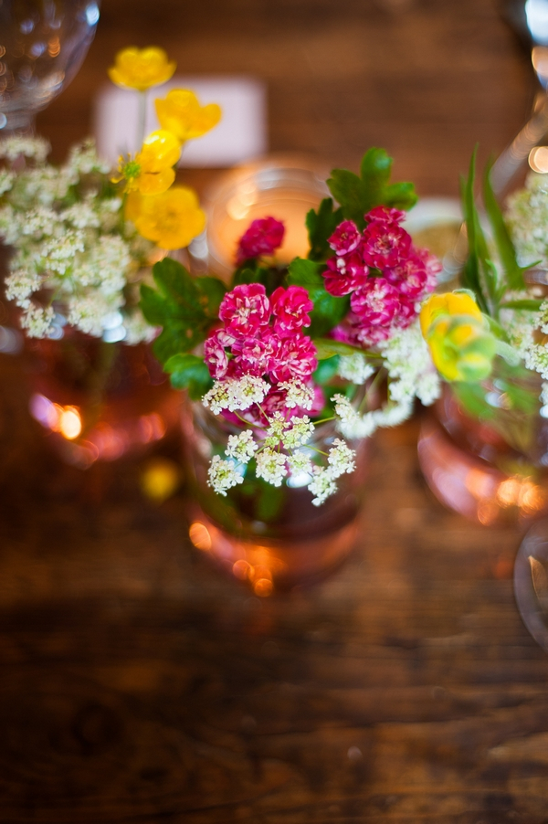 Small flowers on wedding table