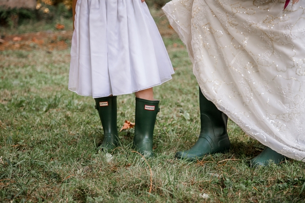 Bride and flower girl wellies