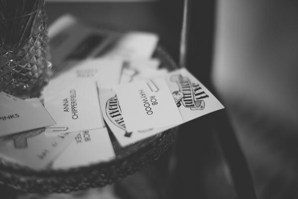 Bowl of wedding name cards