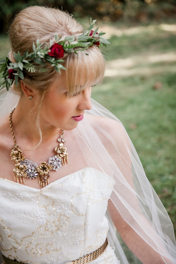 Bride with flower and leaf crown