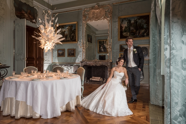 Bride and groom in Blue Room at Waddeston Manor