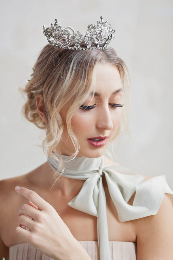 Ballerina bride with crown and scarf