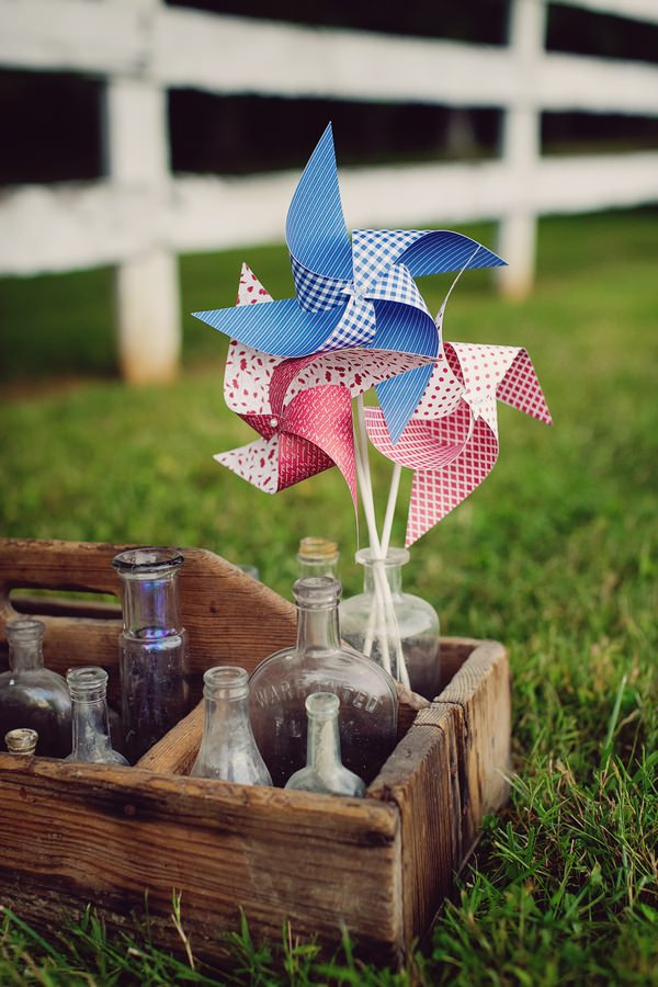 Vintage bottles and pinwheel
