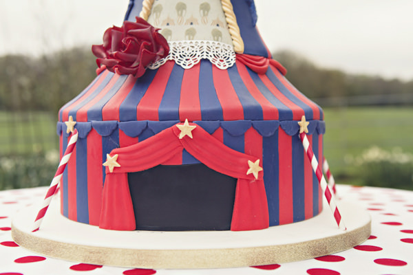 Circus tent entrance on carnival wedding cake