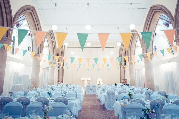 Bunting and wedding tables in Avenue Halls in Kew