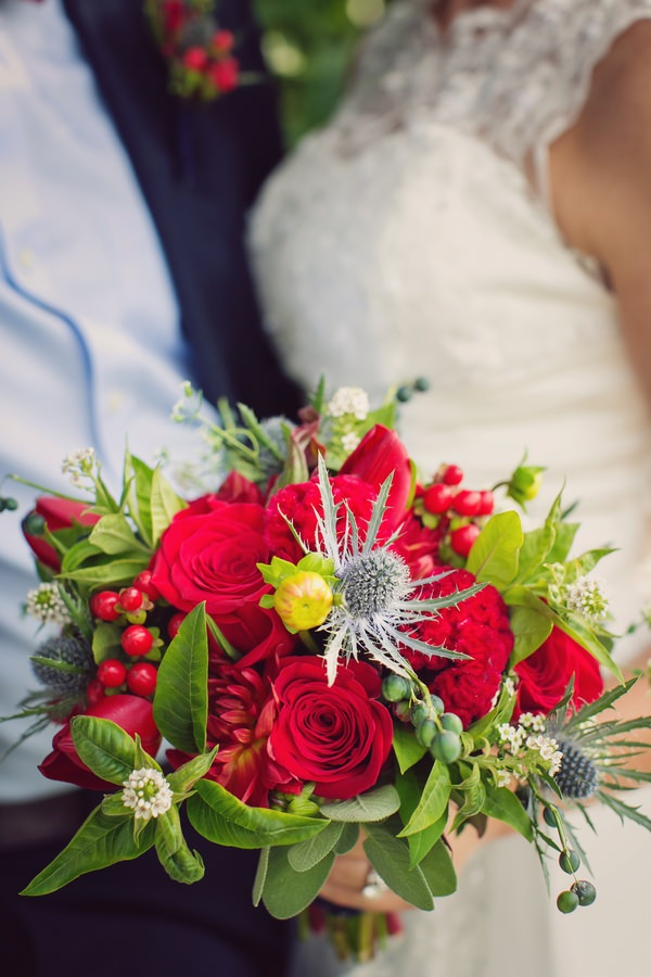 Bride's bright red bouquet