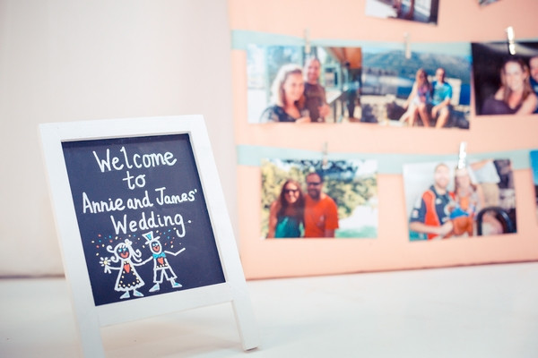Photographs as decoration at wedding
