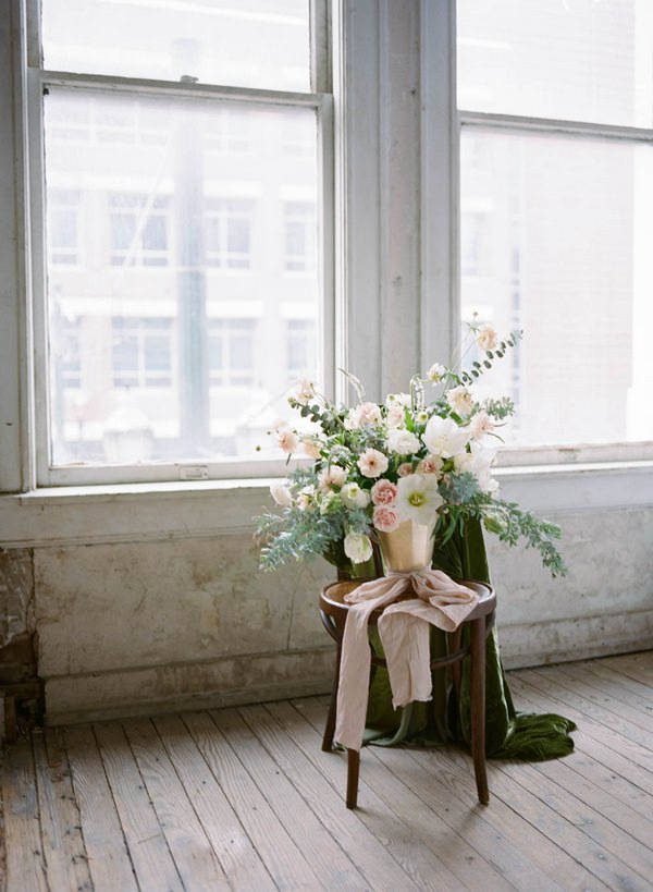 Bridal bouquet on chair