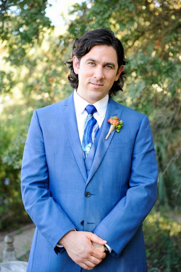 Groom wearing blue suit