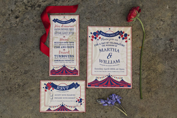 Carnival wedding stationery