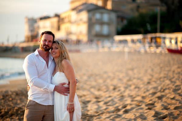 Couple on beach in Italy