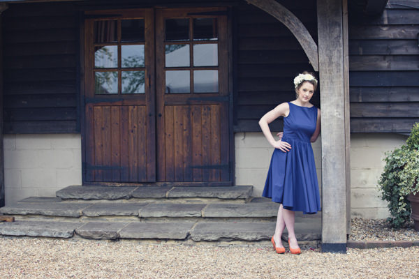 Bride in vintage blue wedding dress
