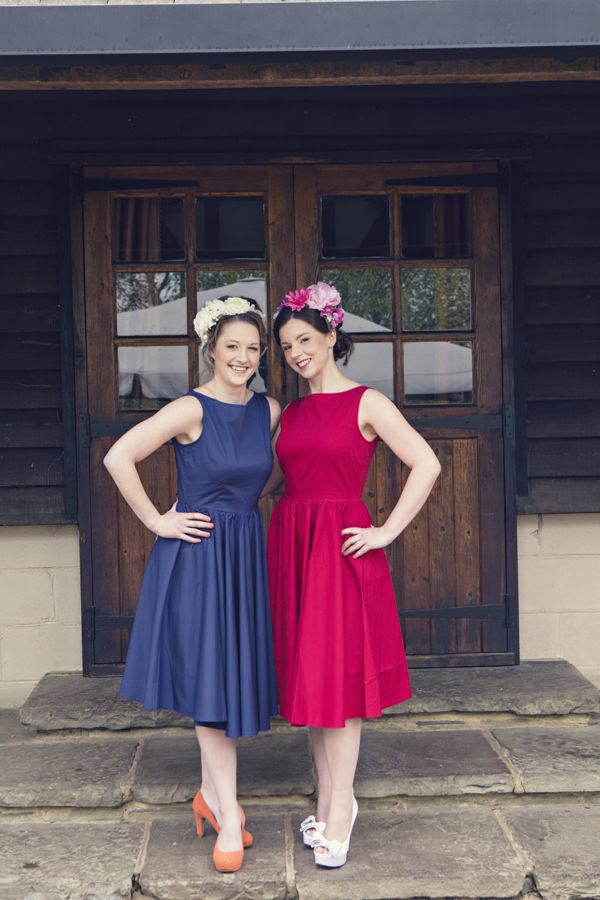 Brides in red and blue vintage wedding dresses
