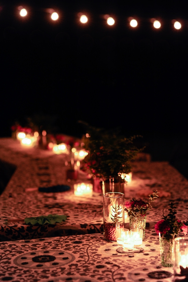 Candles and tealights on table