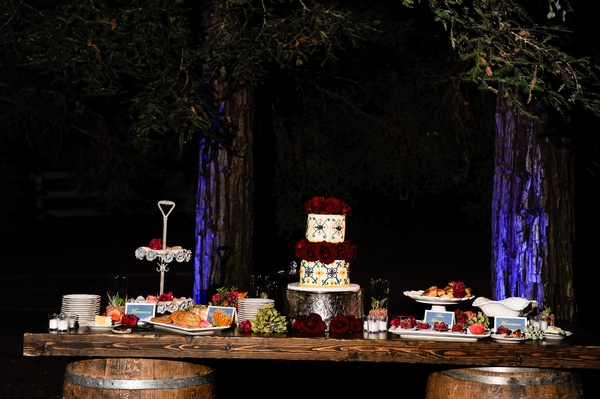 Wedding cake table at night