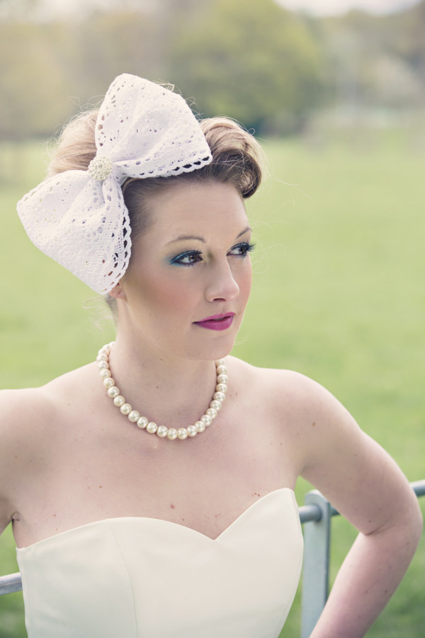 Bride with large bow in hair