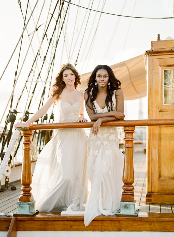 Two brides on the Tall Ship Elissa