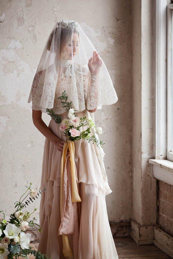 Ballerina bride with veil over face