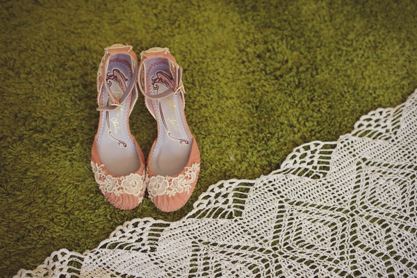 Wedding shoes with lace detail