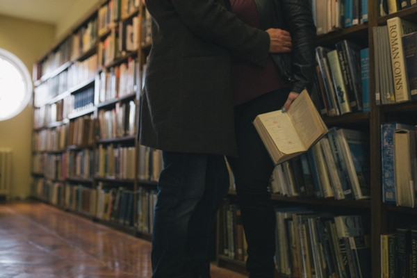 Couple having engagement photo shoot in Middlesbrough Reference Library