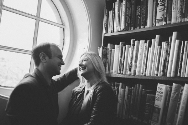 Couple by round window in Middlesbrough Reference Library