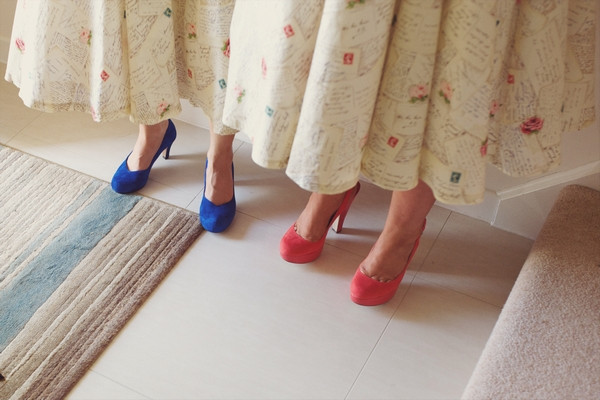 Coloured bridesmaid shoes