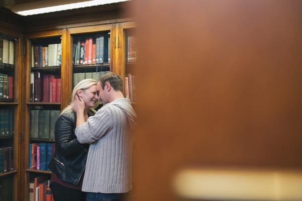 Couple being intimate in Middlesbrough Reference Library