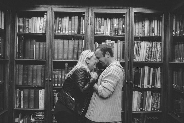 Couple laughing together in Middlesbrough Reference Library