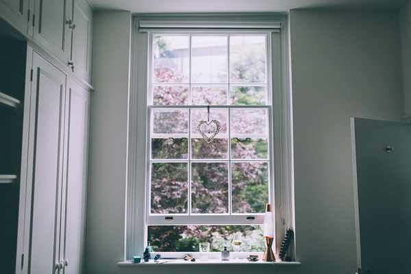 Heart hanging in window
