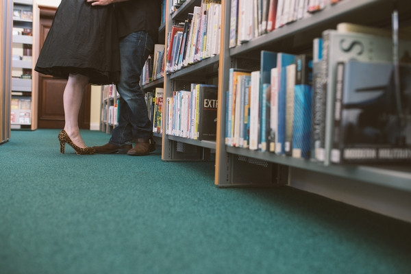 Couple's legs in Middlesbrough Reference Library