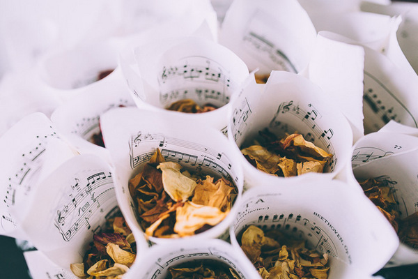 Confetti in cones made of sheet music