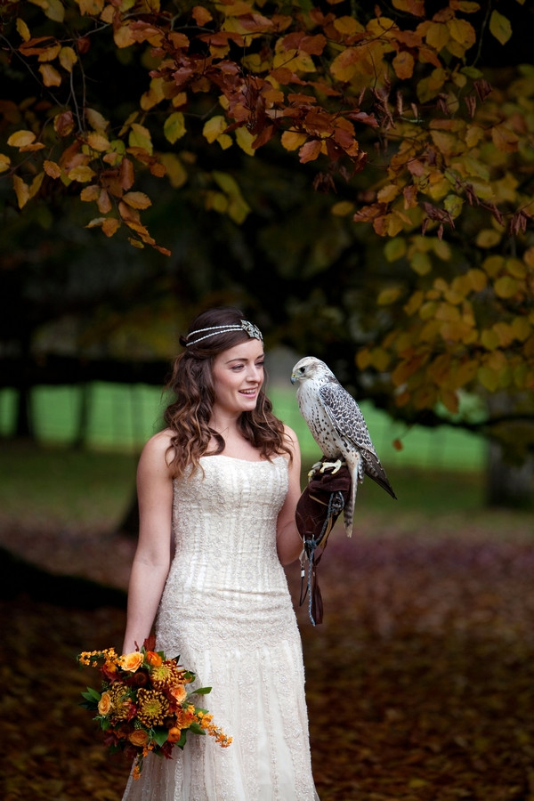 Bride holding hawk