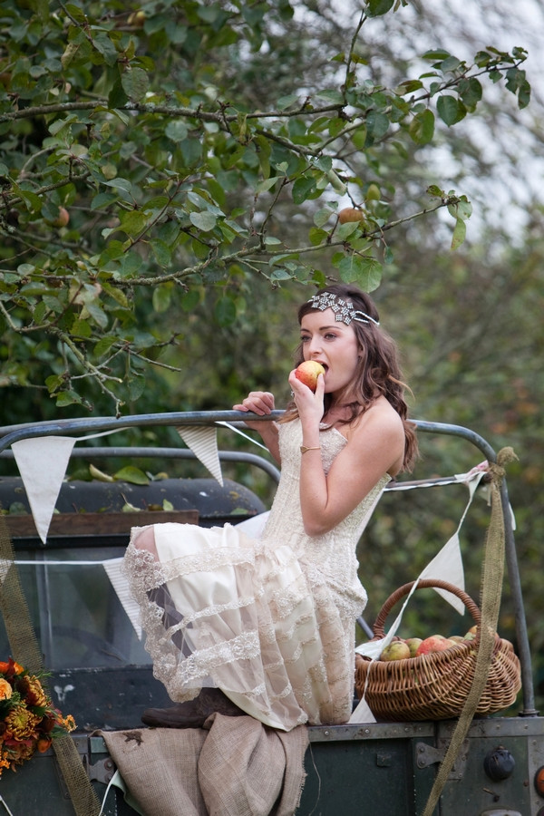 Bride eating apple