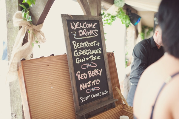 Chalkboard list of wedding welcome drinks