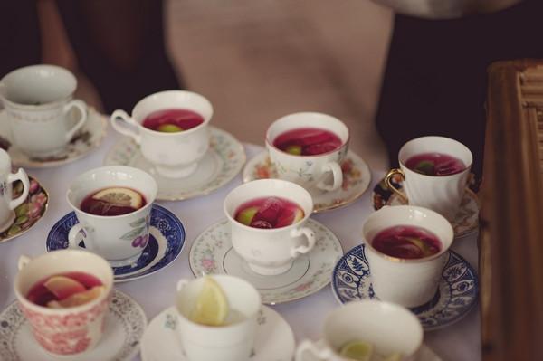 Teacups of wedding welcome drinks