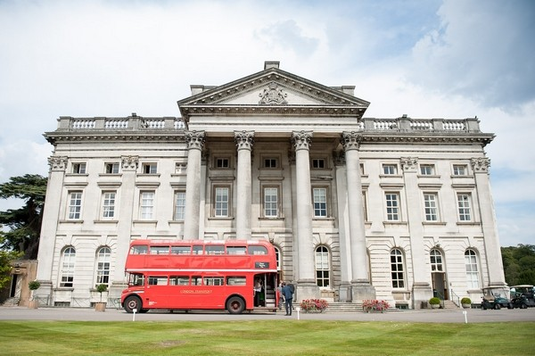 Red wedding bus outside Moor Park Mansion
