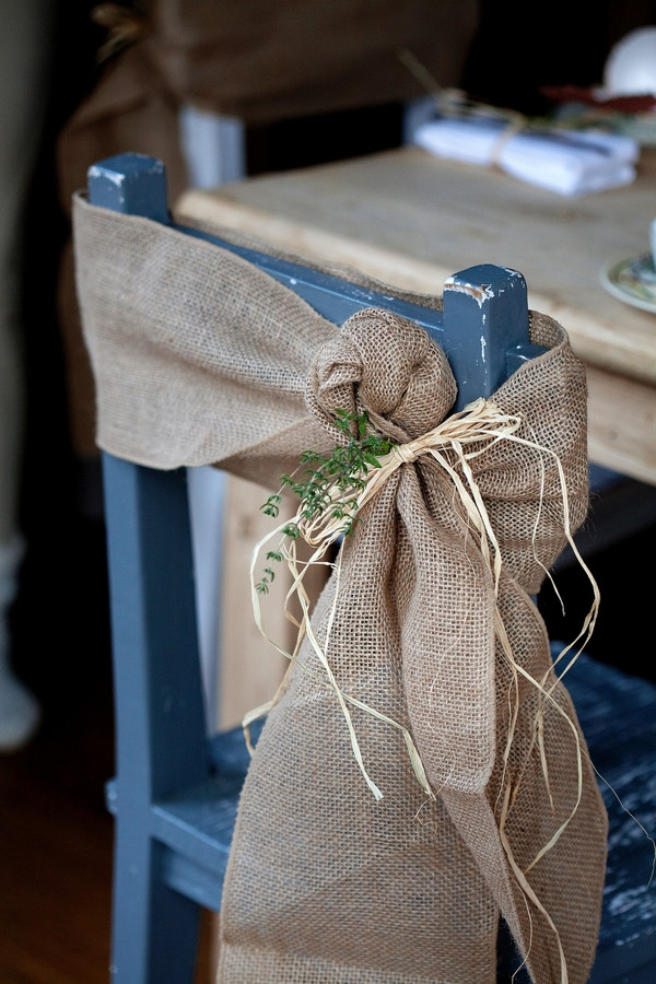Hessian tied to back of wedding chair