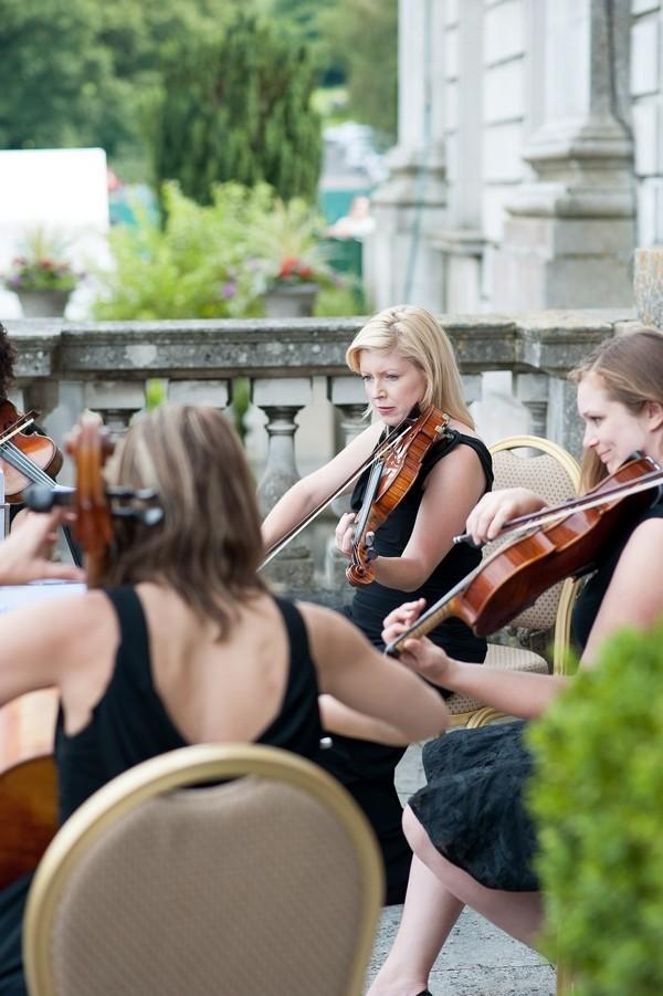 String quartet playing at wedding reception