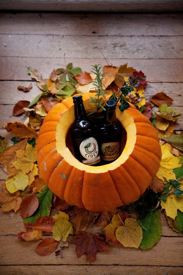 Bottles of cider in pumpkin