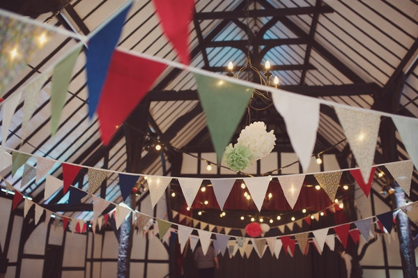 Bunting in village hall