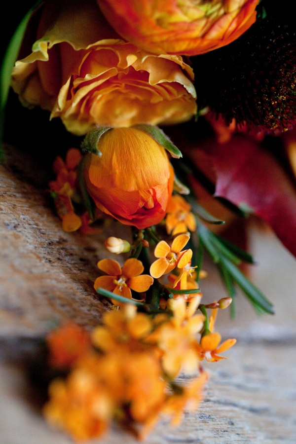 Flowers in autumnal wedding bouquet