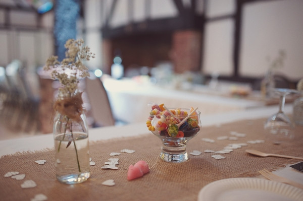 Bowl of sweets on wedding table