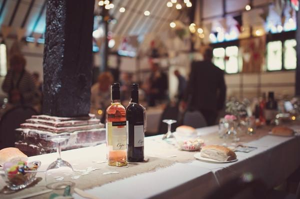 Bottles of wine on wedding table