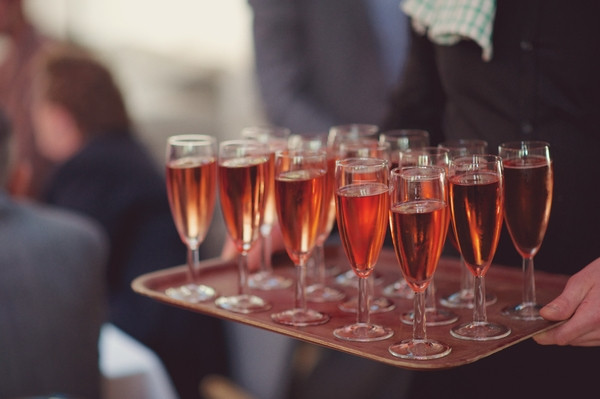 Glasses of pink champagne